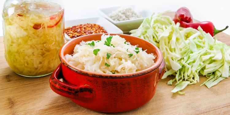 Photo of homemade fermented cabbage sauerkraut