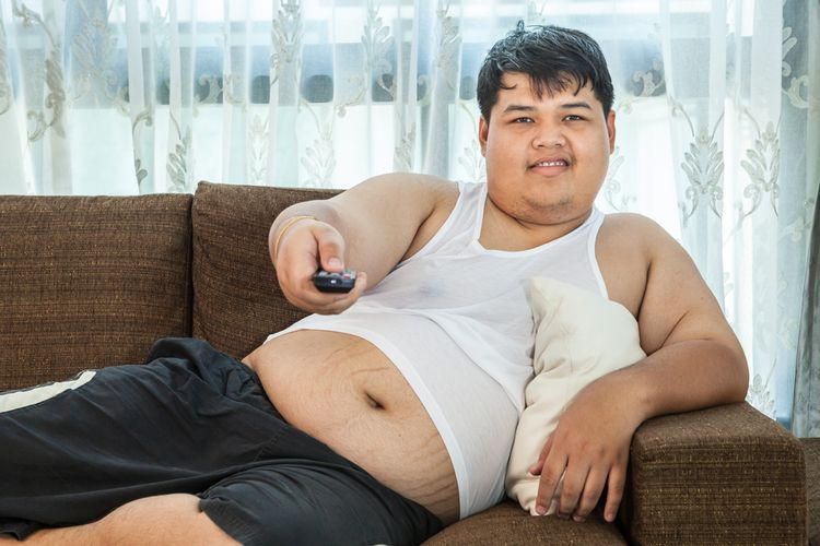 Photo of an Overweight Man on Sofa