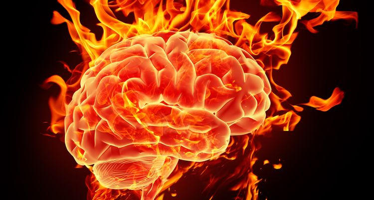 Illustration of brain on fire