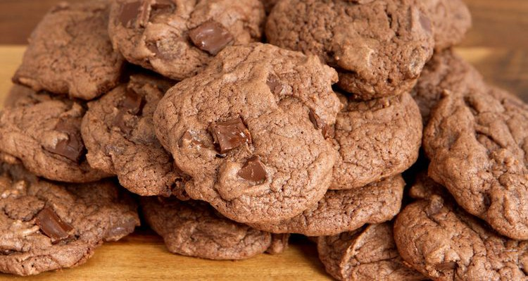 Photo close up of chocolate chip cookies
