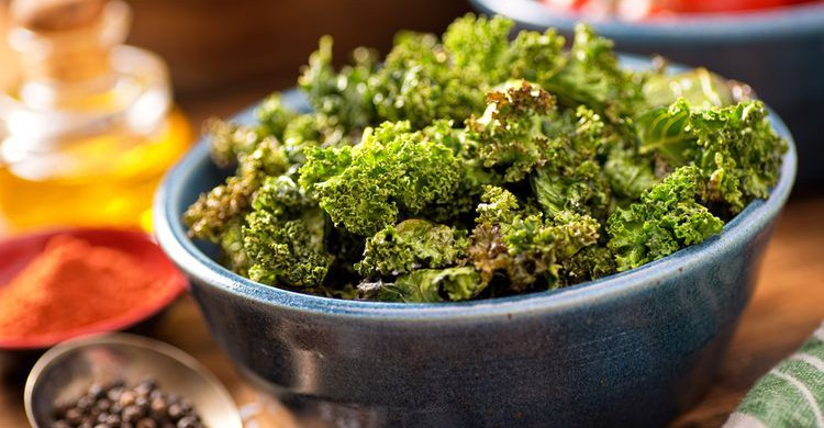 Photo of kale chips in a bowl