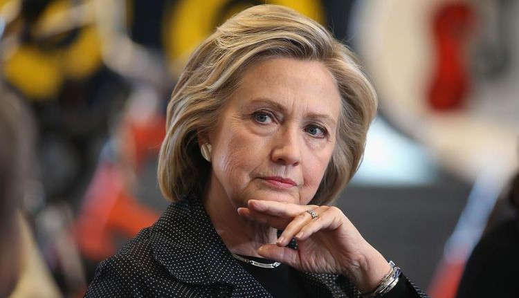 Photo of Hillary Clinton with serious grimace