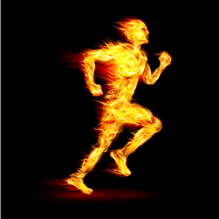 Illustration of Fiery Running Man
