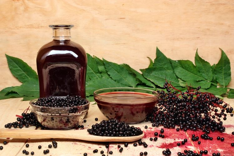 Photo of an elderberries with bottle of syrup