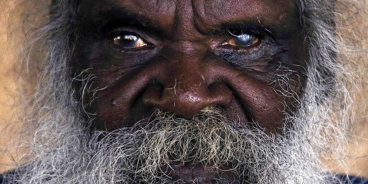 Photo close up of a Seventy-six-year-old Australian Aboriginal elder
