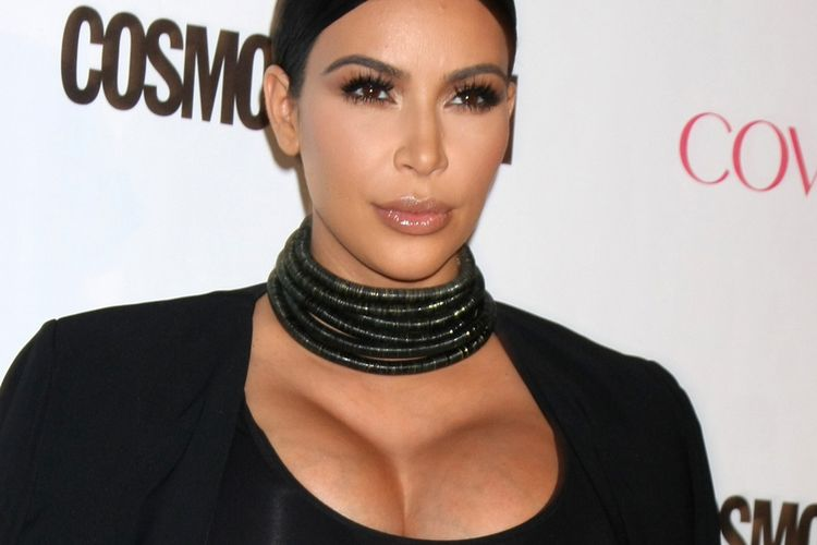 Close up photo of Kim Kardashian in black dress