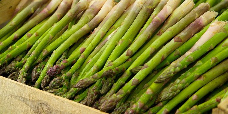 Photo of asparagus sticks in market