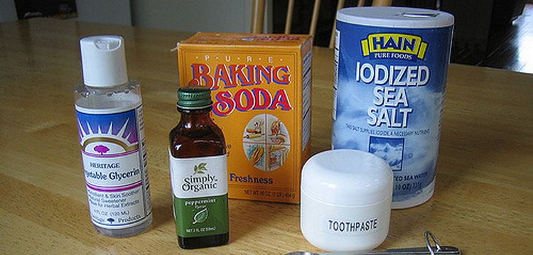 Photo of ingredients of a homemade toothpaste on table