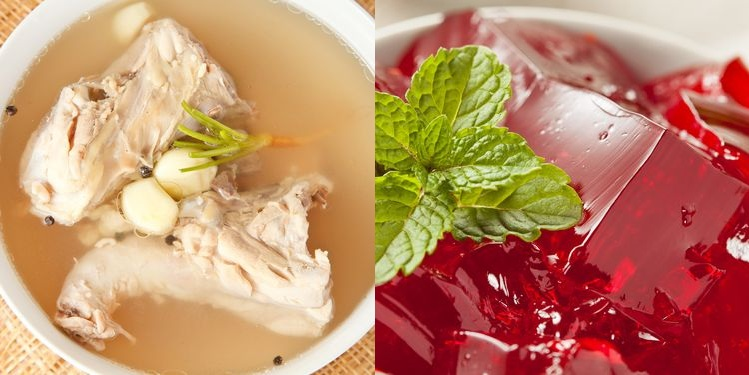 Photo of chicken bone stock soup in bowl / Photo of red gelatin in bowl