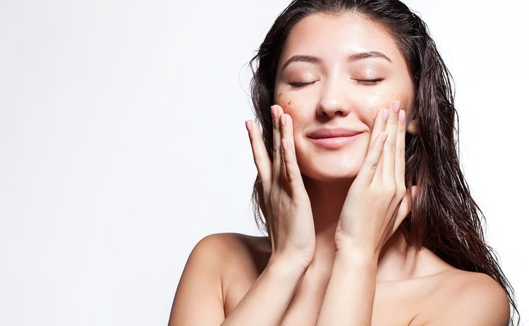 Photo of a girl doing Exfoliation