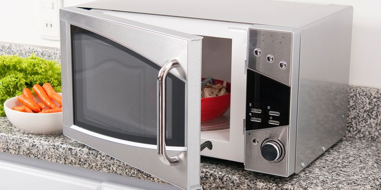 Photo of microwave oven with opened doors