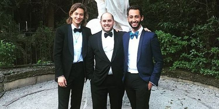 Wellness warriors Nicolas Jammet, Jonathan Neman, and Nathaniel Ru, Sweetgreen founders, wearing dinner jackets