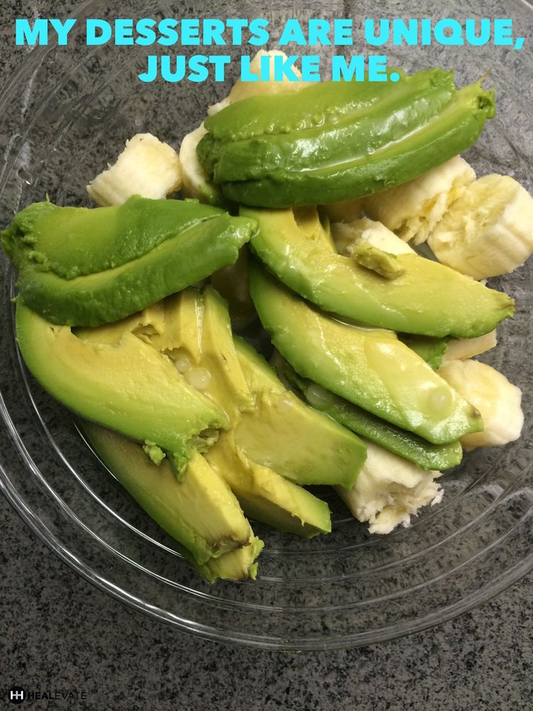 Avocado and banana, unique and healthy dessert