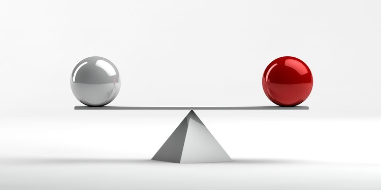 Conceptual image of perfect balance between two issues