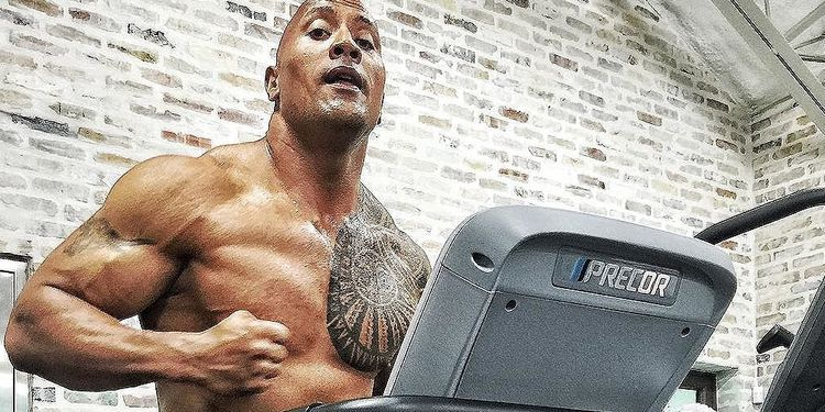 Dwayne Johnson running on the treadmill