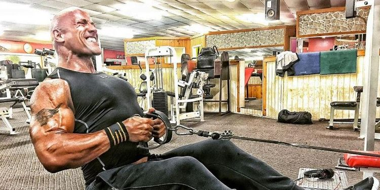 Dwayne Johnson's workout routine: in the gym