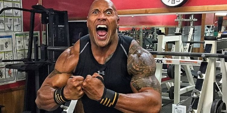 Dwayne Johnson working out