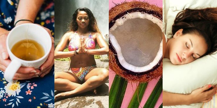 Images of herbal tea, meditation, coconut and sleep to heal your leaky gut
