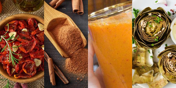 Images of SUN-DRIED TOMATOES, CINNAMON, turmeric, ARTICHOKES, healthiest foods on the planet