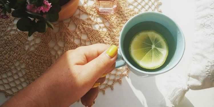 Image of the hand holding a cup of water with lemon