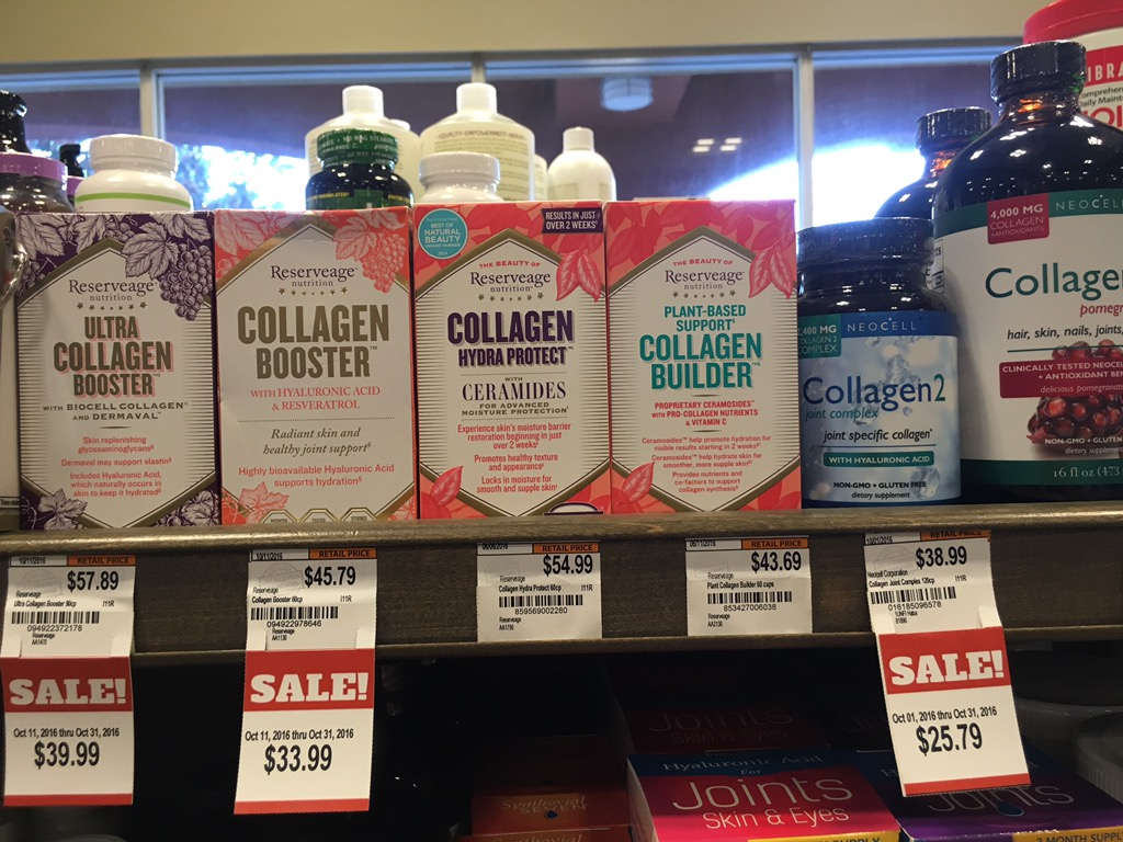 Photo of collagen booster packs on a shelf