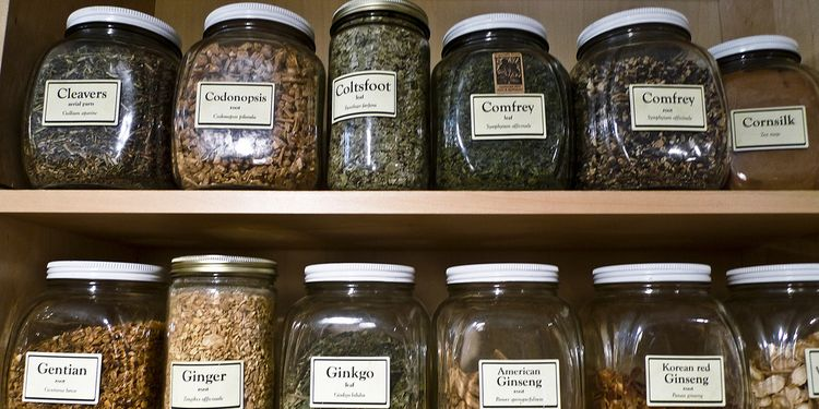 Photo of herb medicine jars on shelves