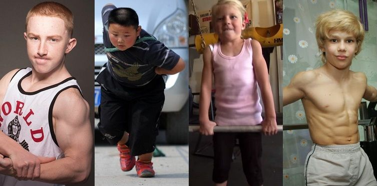 Split photo of four kids that show admirable physiques and strength