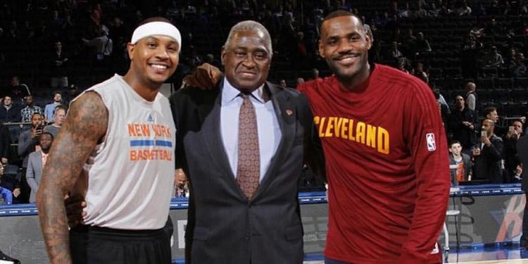 Image of Willis Reed with LeBron James