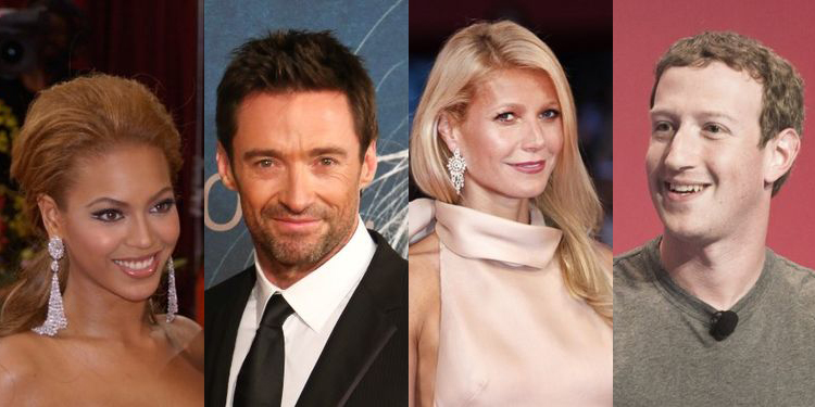 Images of Beyonce, Hugh Jackman, Gwyneth Paltrow and Mark Zukerberg, who suffered from fertility struggles