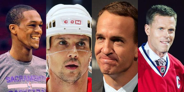 Images of Rajon Rondo, Steve Yzerman, Peyton Manning and Saku Koivu