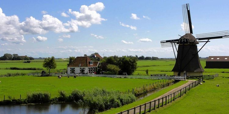 Photo of landscape with windmill in Netherland