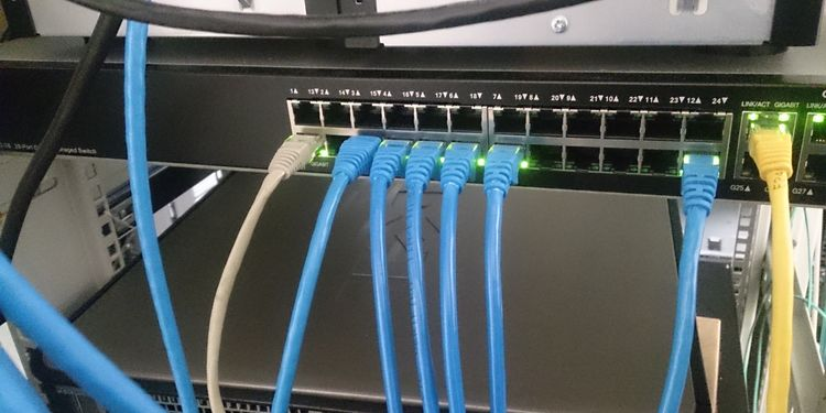 Photo of network cables with a switch