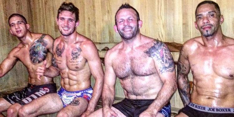 Image of the MMA fighters in the sauna