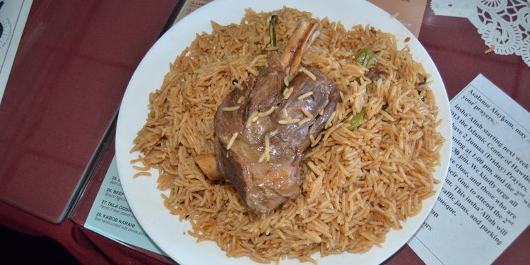 Photo of Afghan brown rice with meat served