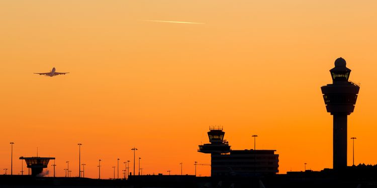 Photo of Airport tower in sunset