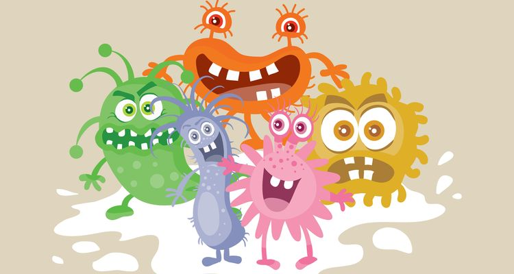 Group of funny colorful microbes cartoon characters vector illustrations