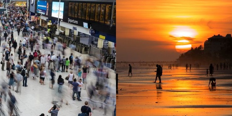 Composite photo of rush hour at the airport and people at the beach in sunset