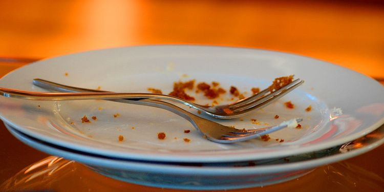 Photo of empty plates with crumbs and forks crossed
