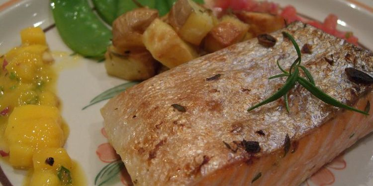 Photo of served grilled salmon