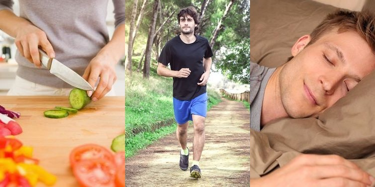 Combined photo of healthy habits - cooking, running, sleeping
