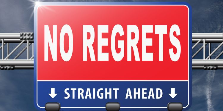 Illustration of highway direction sign saying NO REGRETS and STRAIGHT AHEAD