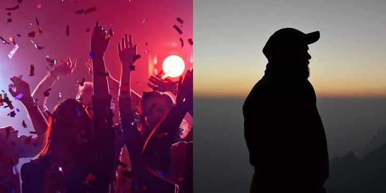 Composite photo of people partying and one man silhouette standing alone in nature