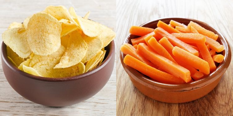 Combinced photo of bowls of potato chips and carrot