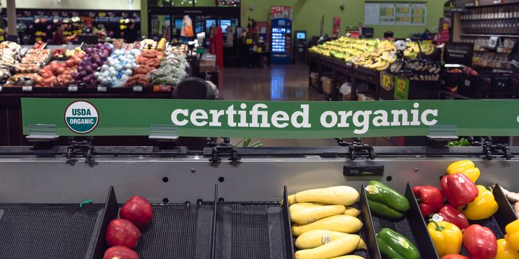 Photo of certified organic produce at the market store