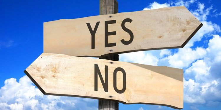 Illustration of a direction sign saying Yes And No
