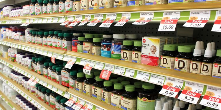 Photo of vitamin supplements on shelf
