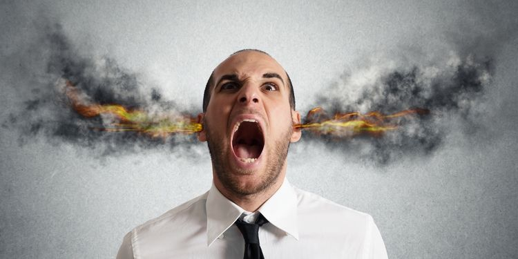 Photo illustration of angry man with steam coming out of ears