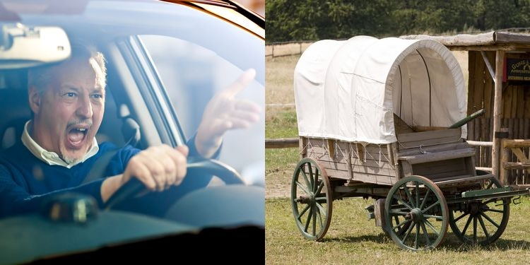 Split photo of impatient angry driver and old horse drawn coach