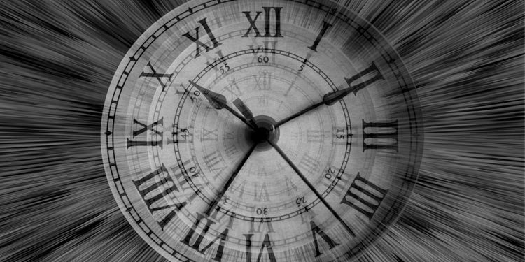 Photo of a clock in motion symbolizing time passage