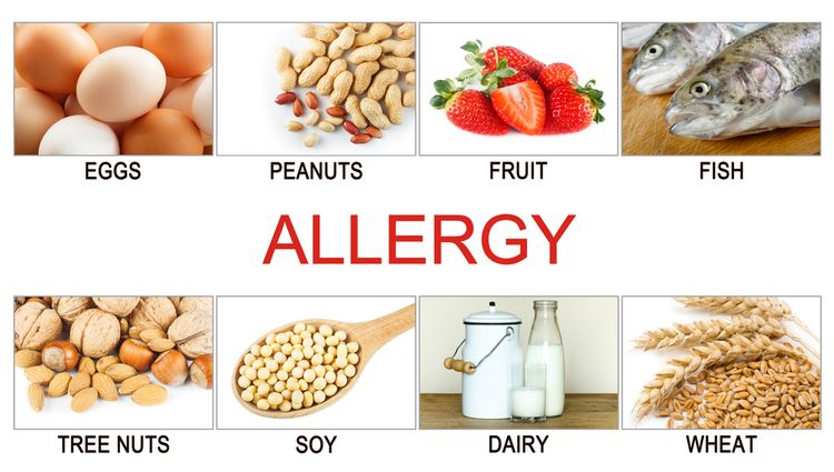 Photos of different foods that cause allergy